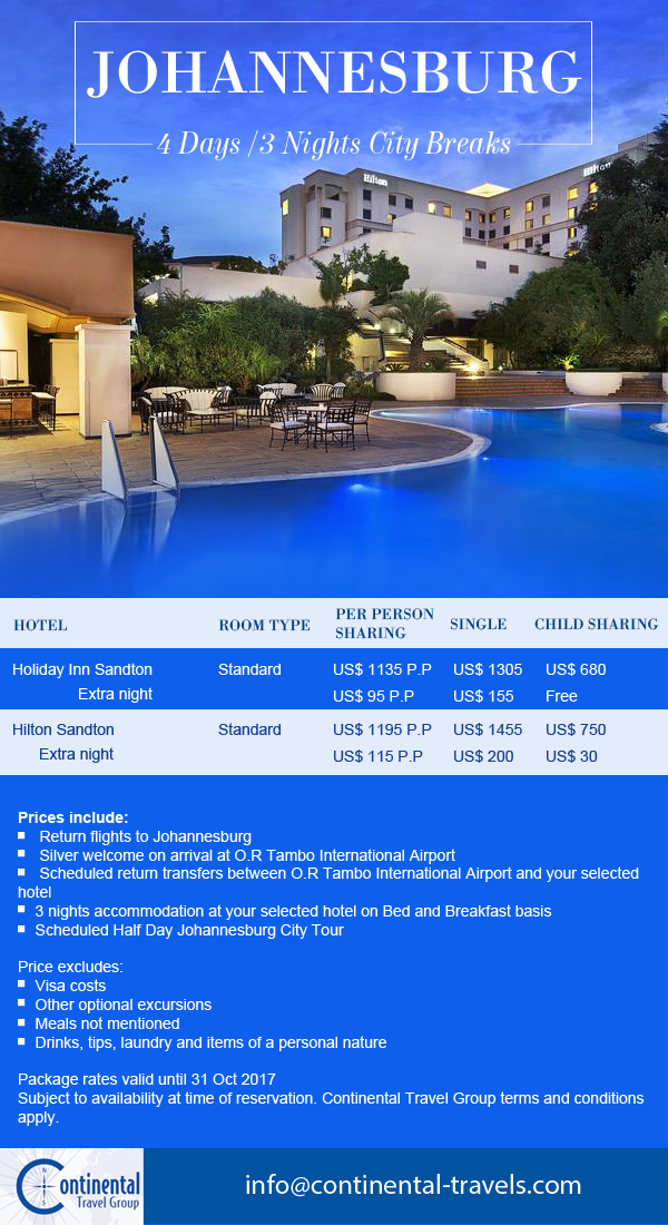 Johannesburg City Break offer